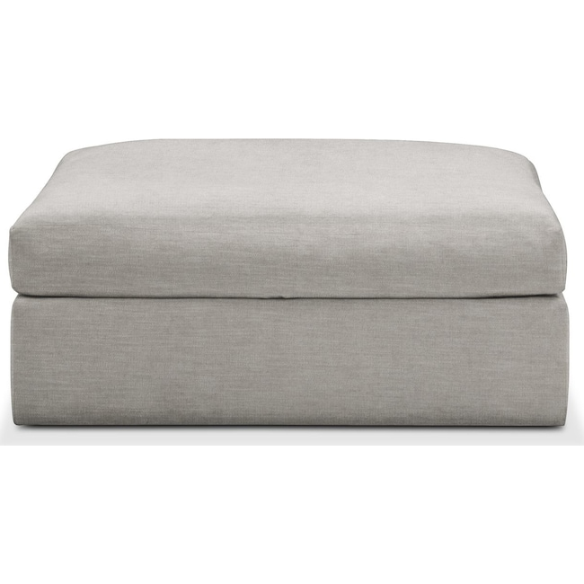Living Room Furniture - Collin Ottoman- Comfort in Dudley Gray
