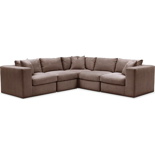 Living Room Furniture - Collin 5 Pc. Sectional - Comfort in Oakley III Java