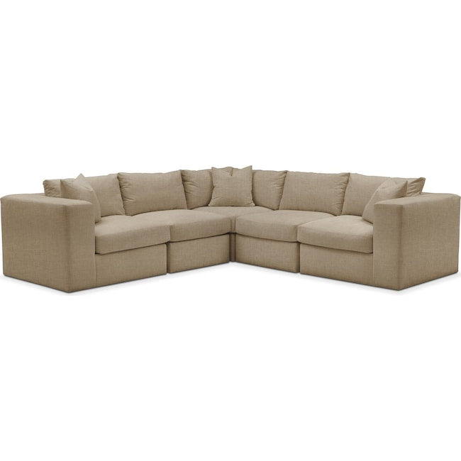 Living Room Furniture - Collin 5 Pc. Sectional - Comfort in Milford II Toast
