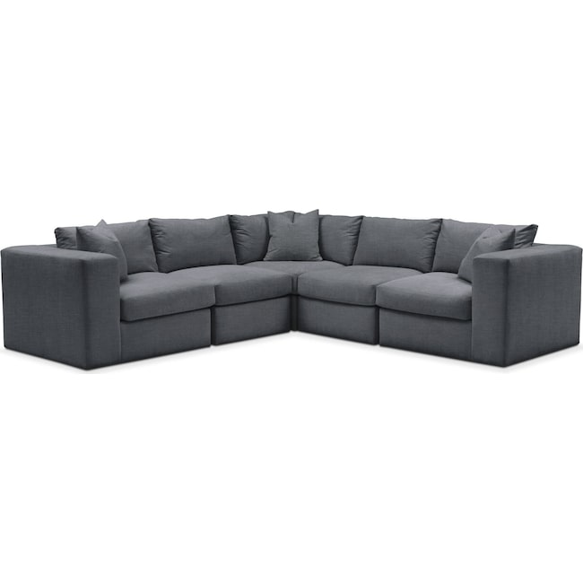 Living Room Furniture - Collin 5-Piece Sectional - Comfort in Milford II Charcoal