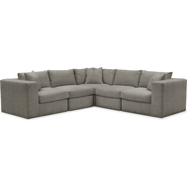 Living Room Furniture - Collin 5 Pc. Sectional - Comfort in Victory Smoke