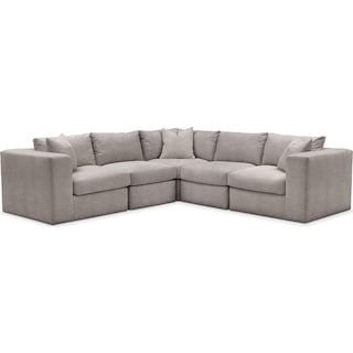 Collin 5 Pc. Sectional - Comfort in Curious Silver Rine