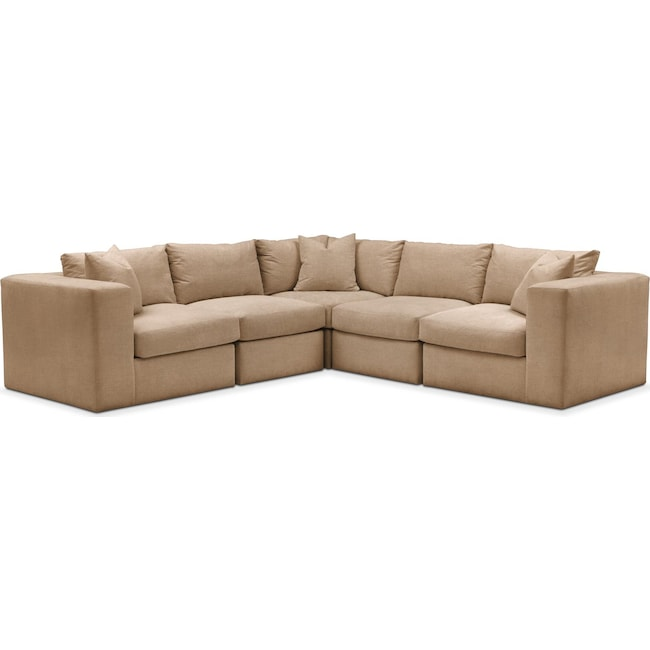 Living Room Furniture - Collin 5 Pc. Sectional - Comfort in Hugo Camel