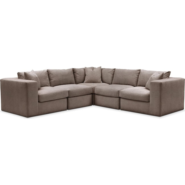 Living Room Furniture - Collin 5 Pc. Sectional - Comfort in Hugo Mocha