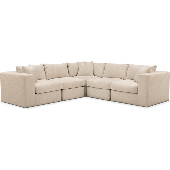 Living Room Furniture - Collin 5 Pc. Sectional - Comfort in Dudley Buff