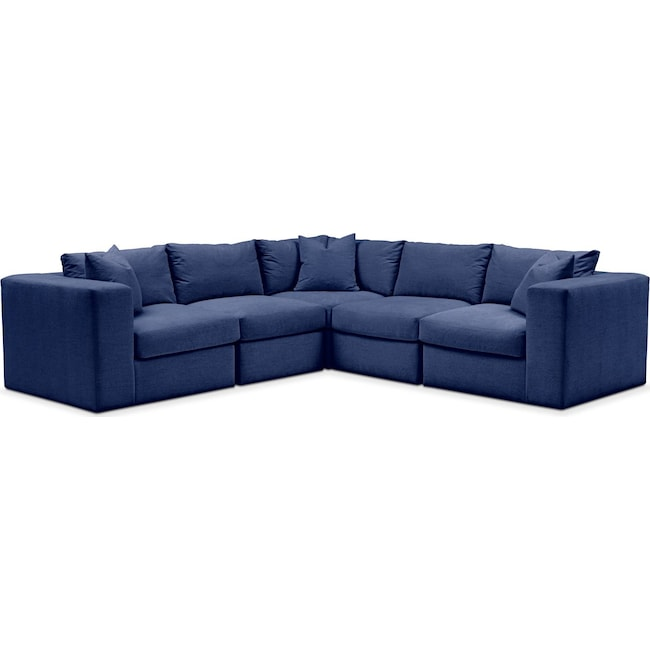 Living Room Furniture - Collin 5 Pc. Sectional - Comfort in Abington TW Indigo