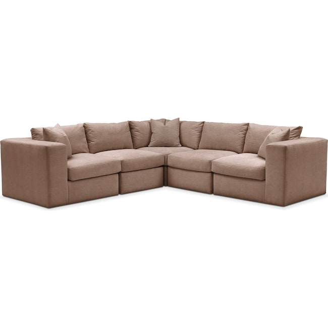 Living Room Furniture - Collin 5 Pc. Sectional - Comfort in Abington TW Antler