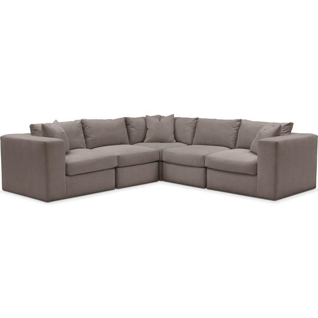Living Room Furniture - Collin 5 Pc. Sectional - Cumulus in Oakley III Granite