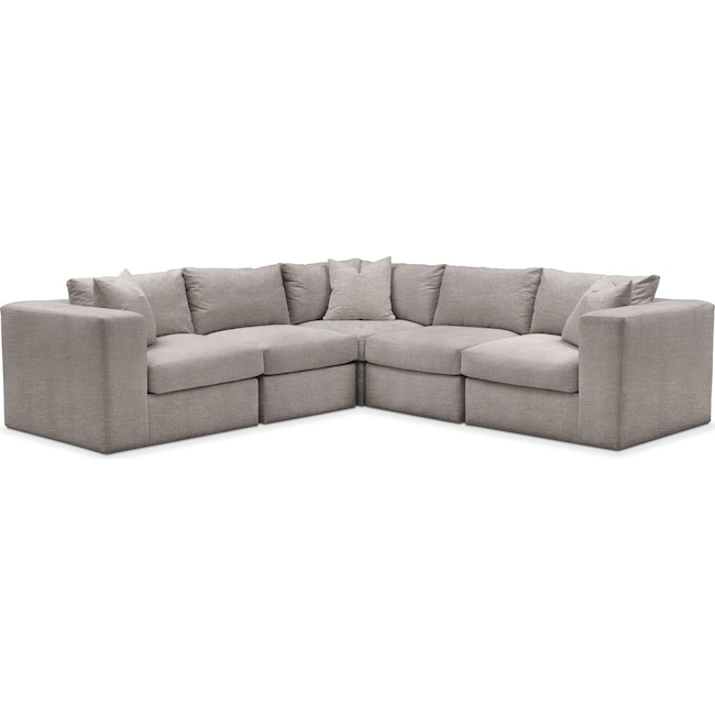 Living Room Furniture - Collin 5 Pc. Sectional - Cumulus in Curious Silver Rine