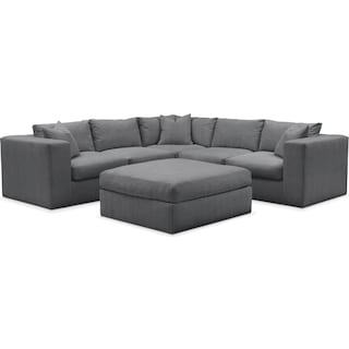 Collin Comfort 5-Piece Sectional and Ottoman - Depalma Charcoal