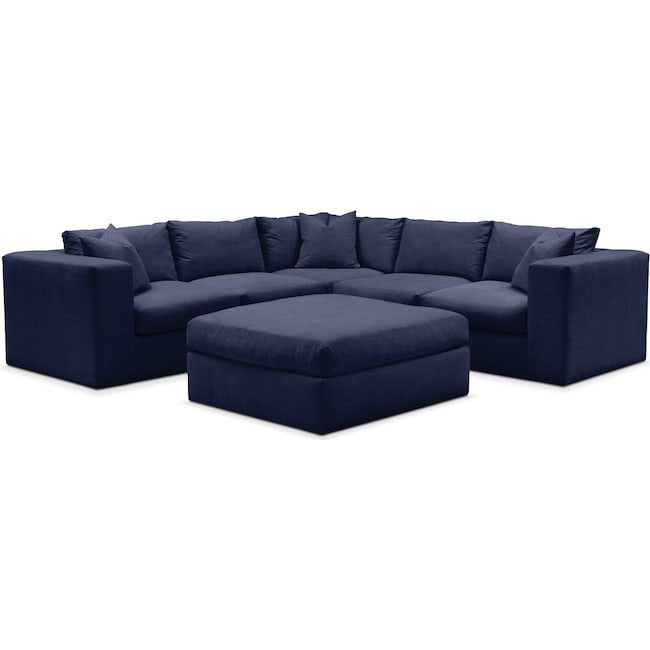Living Room Furniture - Collin 6 Pc. Sectional- Comfort in Oakley III Ink