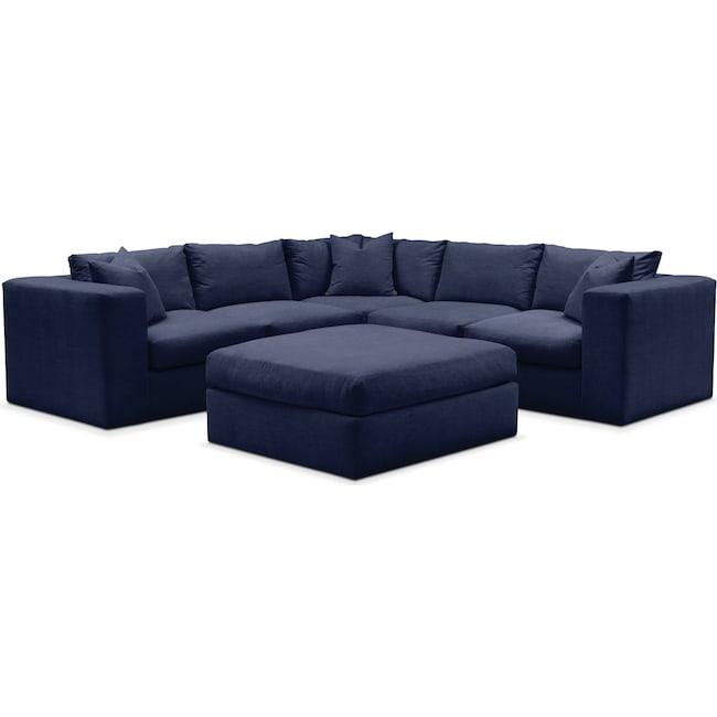 Living Room Furniture - Collin 6 Pc. Sectional- Comfort in Oakley III Ink