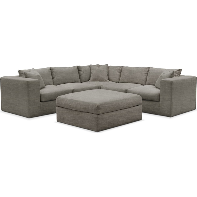 Living Room Furniture - Collin 6 Pc. Sectional- Comfort in Victory Smoke