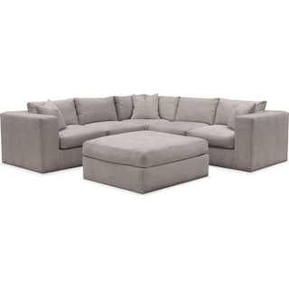 Collin Comfort 5-Piece Sectional and Ottoman - Curious Silver Pine