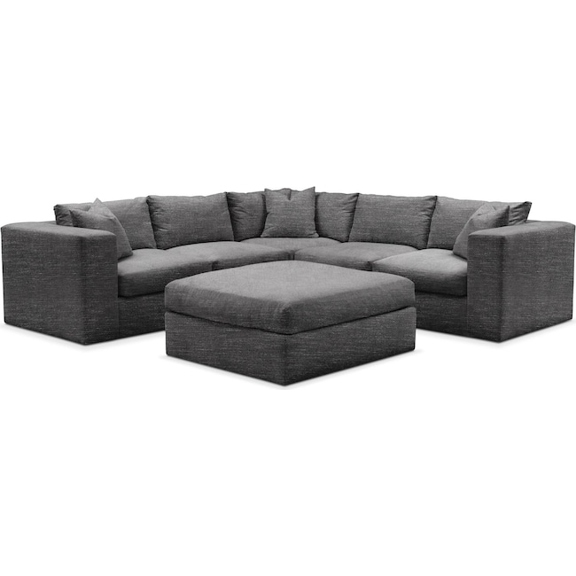Living Room Furniture - Collin 6 Pc. Sectional- Comfort in Curious Charcoal