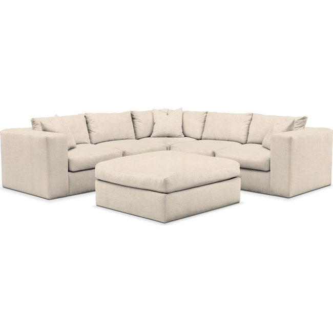 Living Room Furniture - Collin 6 Pc. Sectional- Comfort in Curious Pearl