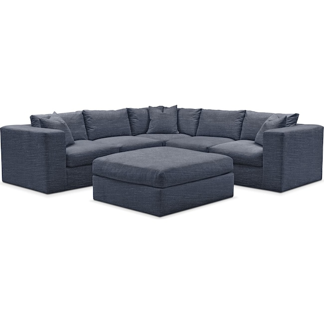 Living Room Furniture - Collin 6 Pc. Sectional- Comfort in Curious Eclipse