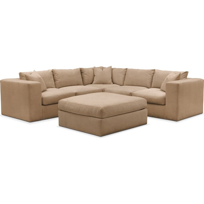Living Room Furniture - Collin 6 Pc. Sectional- Comfort in Hugo Camel