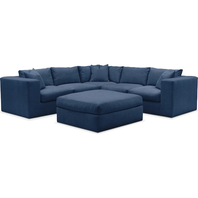 Living Room Furniture - Collin 6 Pc. Sectional- Comfort in Hugo Indigo