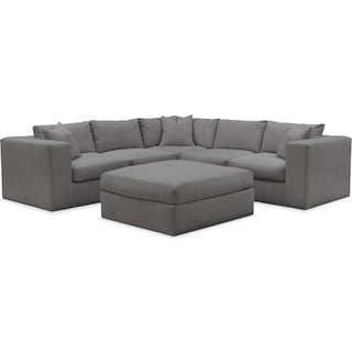 Collin 6 Pc. Sectional- Comfort in Hugo Graphite