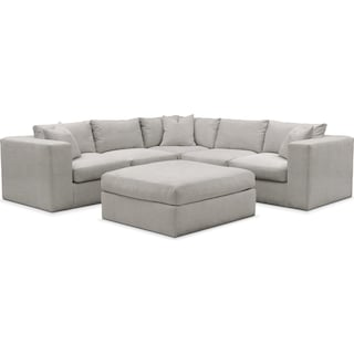 Collin Comfort 5-Piece Sectional and Ottoman - Dudley Gray