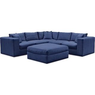 Collin Comfort 5-Piece Sectional and Ottoman - Abington TW Indigo