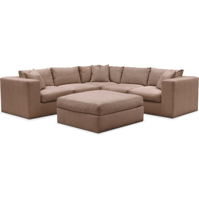 Living Room Furniture - Collin 6 Pc. Sectional- Comfort in Abington TW Antler