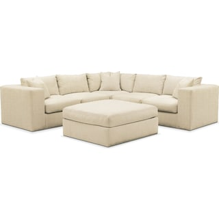 Collin 6 Pc. Sectional- Comfort in Anders Cloud