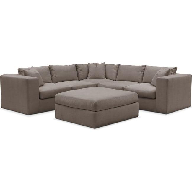 Living Room Furniture - Collin 6 Pc. Sectional- Cumulus in Oakley III Granite