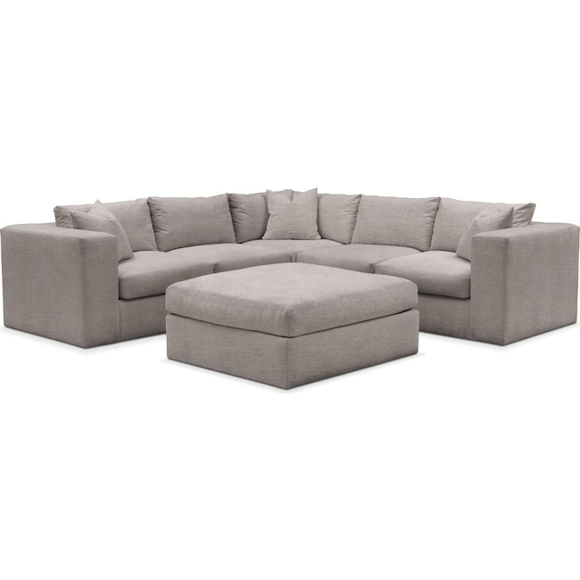 Living Room Furniture - Collin 6 Pc. Sectional- Cumulus in Curious Silver Rine