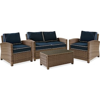 Destin Outdoor Loveseat, 2 Chairs and Coffee Table Set - Blue