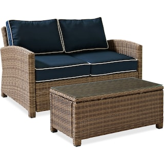 Destin Outdoor Loveseat and Cocktail Table Set - Blue