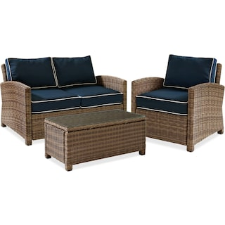 Destin Outdoor Loveseat, Chair and Coffee Table Set - Blue