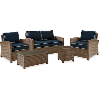 Destin Outdoor Loveseat, 2 Chairs, Coffee Table and End Table Set - Blue