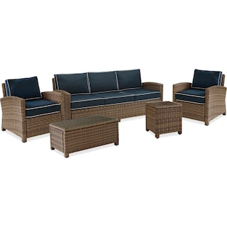 Destin Outdoor Sofa, 2 Chairs, Coffee Table and End Table Set - Blue