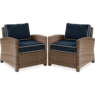 Destin Set of 2 Outdoor Chairs - Blue