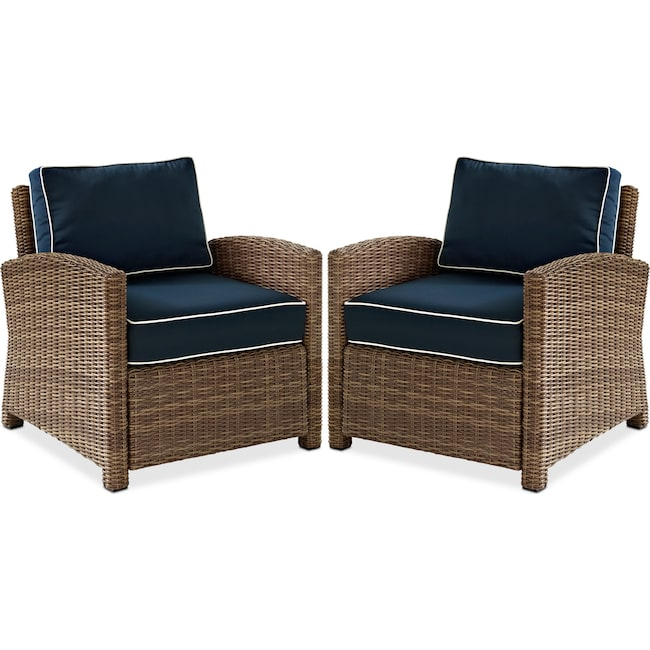 Outdoor Furniture - Destin Set of 2 Outdoor Chairs - Blue