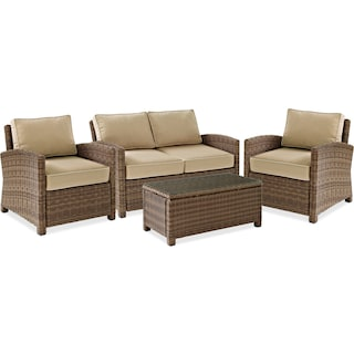 Destin Outdoor Loveseat, 2 Chairs and Coffee Table Set - Sand