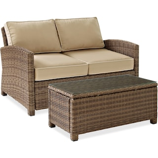 Destin Outdoor Loveseat and Cocktail Table Set - Sand