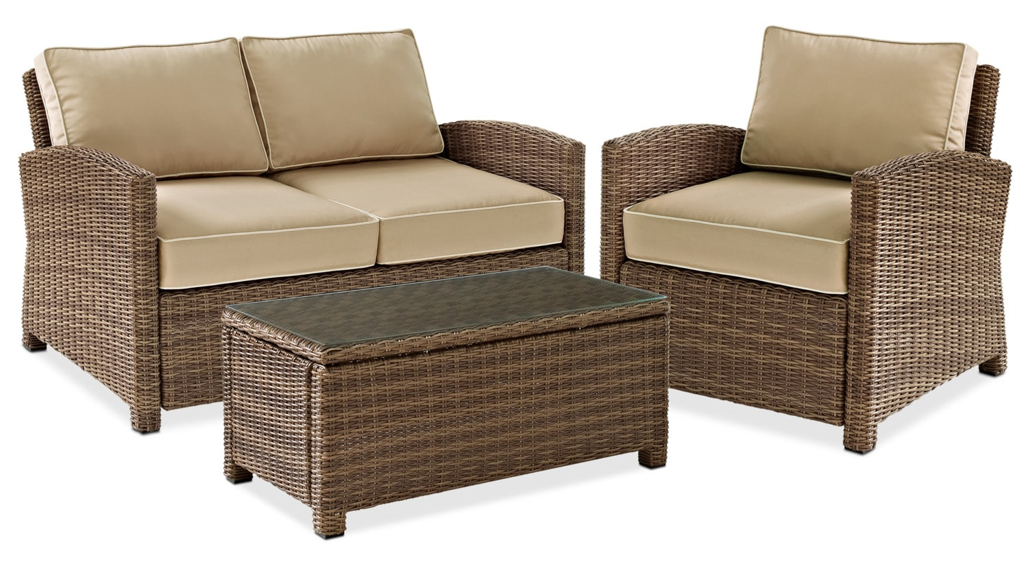Outdoor Furniture - Destin Outdoor Loveseat, Chair and Coffee Table Set