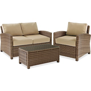 Destin Outdoor Loveseat, Chair and Cocktail Table Set - Sand