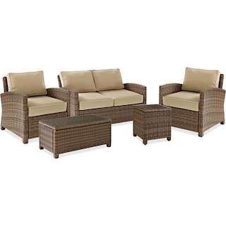 Destin Outdoor Loveseat, 2 Chairs, Coffee Table and End Table Set - Sand