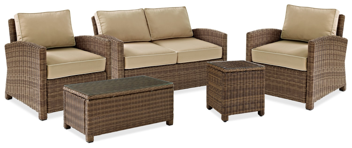 $2,109.95 Destin Outdoor Loveseat, 2 Chairs, Cocktail Table And End Table  Set   Sand