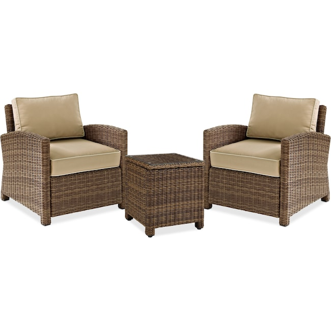 Outdoor Furniture Destin 2 Chairs And End Table Set Sand