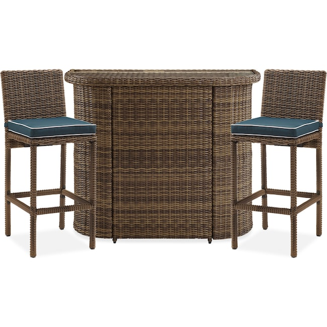 Outdoor Furniture - Destin Outdoor Bar and 2 Bar Stools