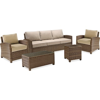 Destin Outdoor Sofa, 2 Chairs, Coffee Table and End Table Set - Sand