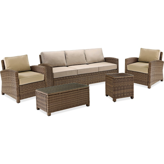 Outdoor Furniture - Destin Outdoor Sofa, 2 Chairs, Coffee Table and End Table Set
