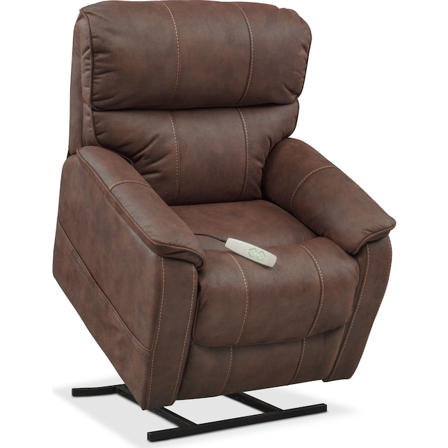 Living Room Furniture - Mondo Power Lift Recliner - Brown