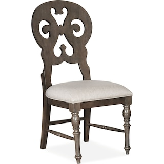 Charleston Scroll-Back Side Chair - Gray