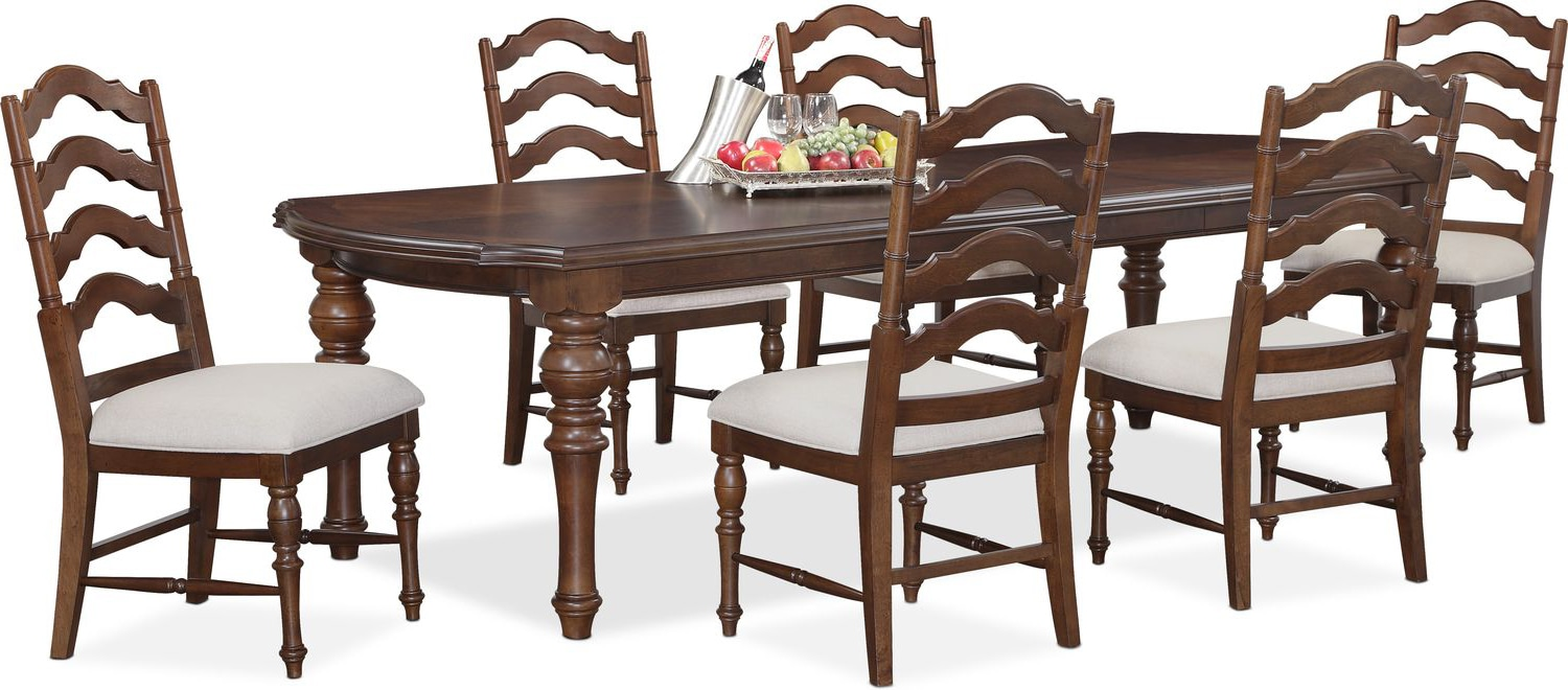 Dining Room Furniture   Charleston Rectangular Dining Table And 6 Side  Chairs   Tobacco